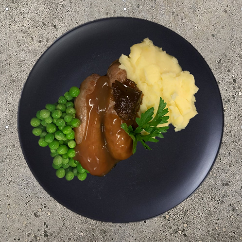 Bangers and Mash, with Peas & Onion Gravy