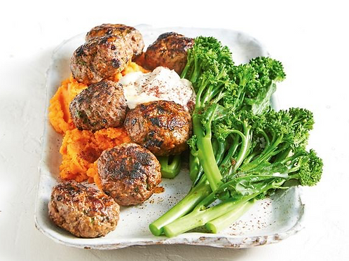 Meatballs with Sweet Potato Mash and Greens