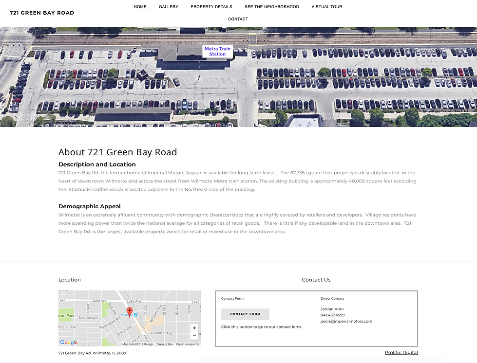 Website for commercial real estate development