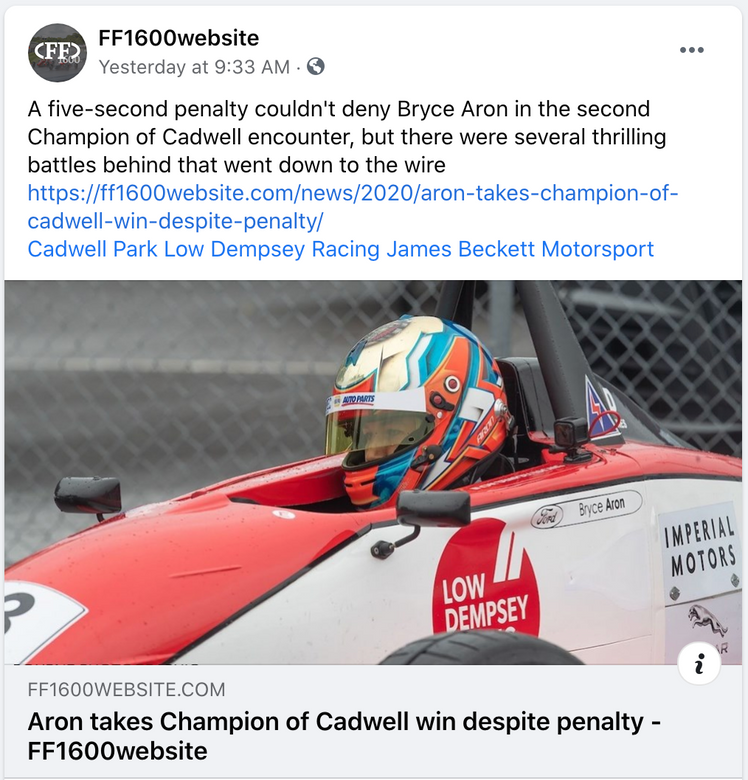 Bryce Aron Wins at Cadwell Park