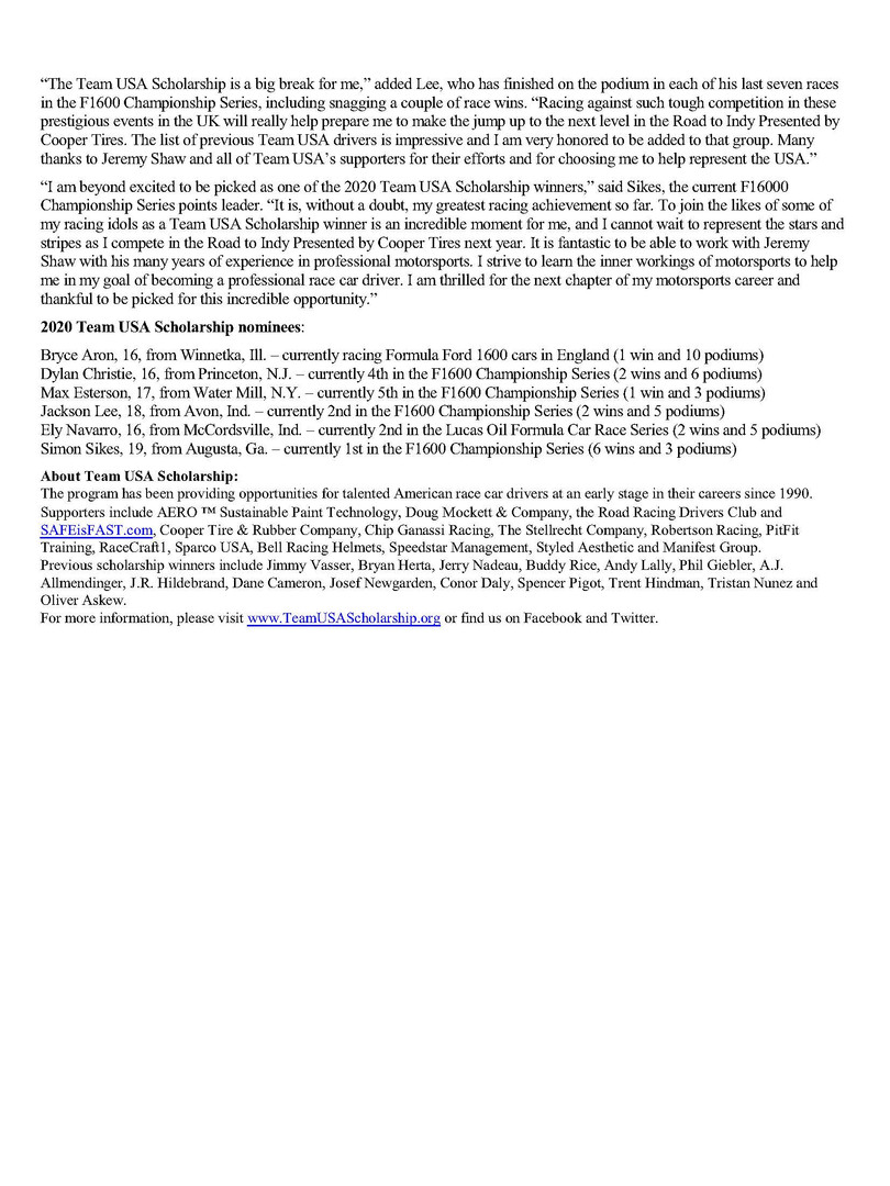 Bryce Aron 2020 Team USA Scholarship Winner