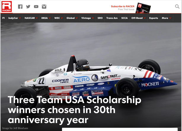 Racer Magazine Bryce Aron Team USA Winner