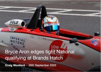 Bryce Wins Pole at National Race Brands Hatch Indy