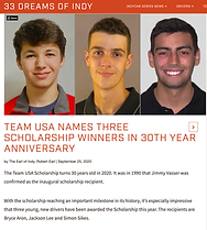 Dreams of Indy Bryce Aron Team USA Scholarship Winner