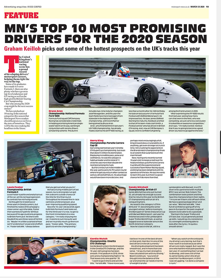 Bryce Picked at Motorsport News 10 Most Promising Drivers