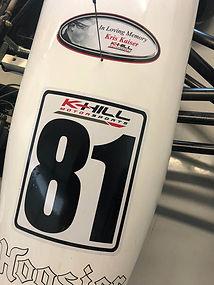 In Loving Memory of Kris Kaiser decal on Bryce's racecar
