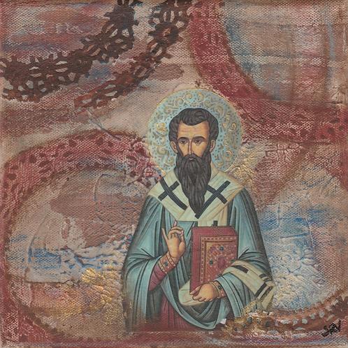 St. Basil the Great - Original Canvas 8x8