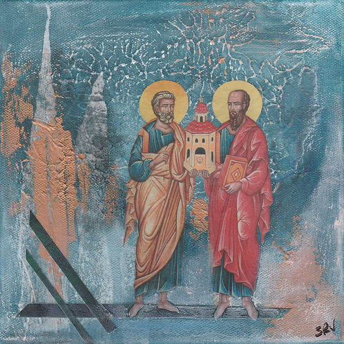Sts. Peter and Paul - Original Canvas 8x8