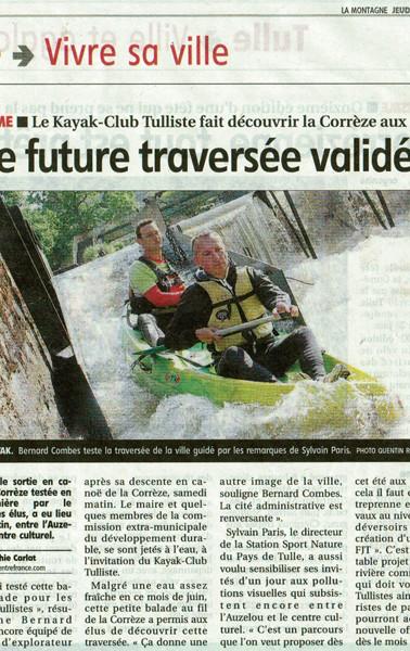 2012 - Le Kayak-Club Tulliste fait découvrir la Corrèze aux élus