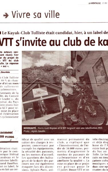 Le VTT s'invite au club de kayak