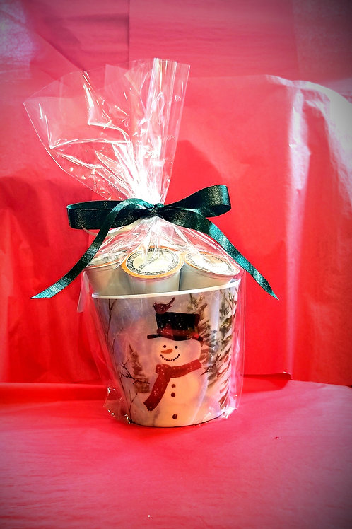 Snowman Cardinal  Gift Pail with 14 K-Cups