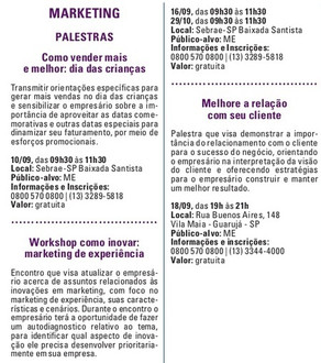 Agenda de Palestras e Workshops do SEBRAE Santos