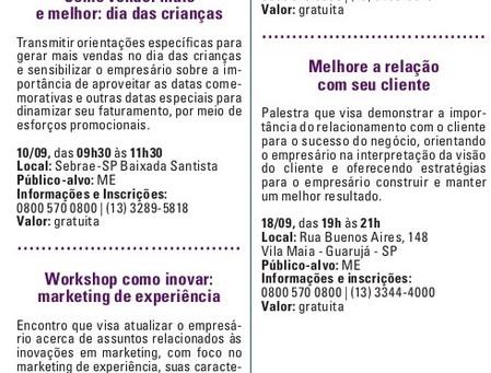 Agenda de Palestras e Workshops do SEBRAE Santos