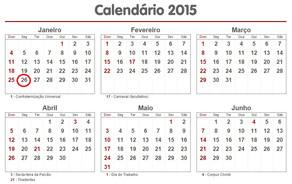 Calendário 2015 - Feriados Nacionais, Estaduais e Municipais
