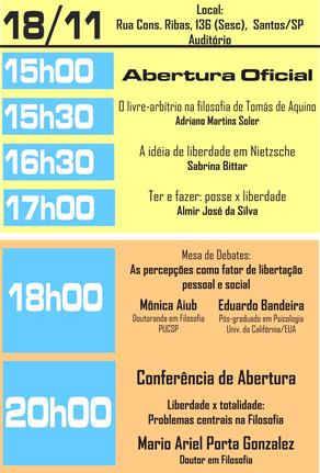II Semana de Filosofia do CEFS de 18 a 22 de Novembro