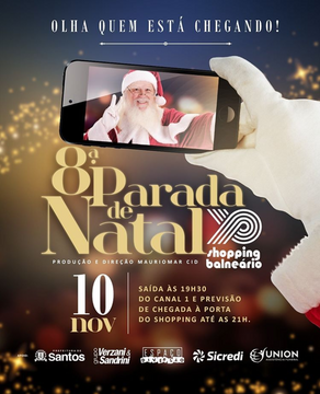 8ª Parada de Natal do Balneário terá personagens, shows e a chegada do Papai Noel