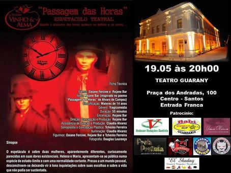"""Cia. Teatro Vinho & Alma apresenta """"Passagem das Horas"""" no Teatro Guarany"""