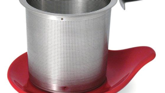 HOOK HANDLE TEA INFUSER & DISH SET - INFUSOR DE AÇO COM PRATO