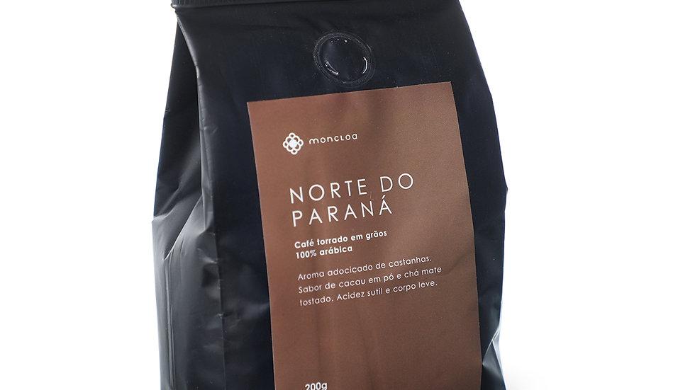 Café Norte do Paraná Arábica em GRÃOS - Pouch 200g
