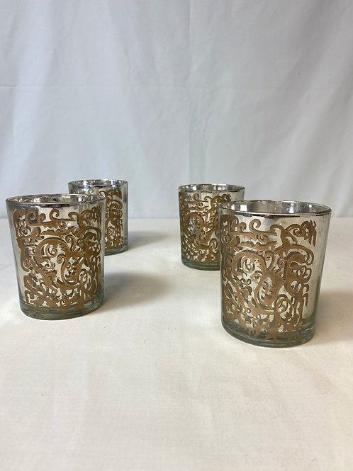 Gold Patterned Glass Candle Holders