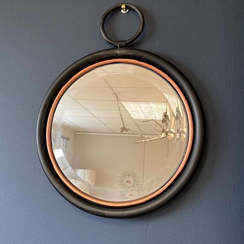 Doubled Framed Black & Rose Gold Round Mirror
