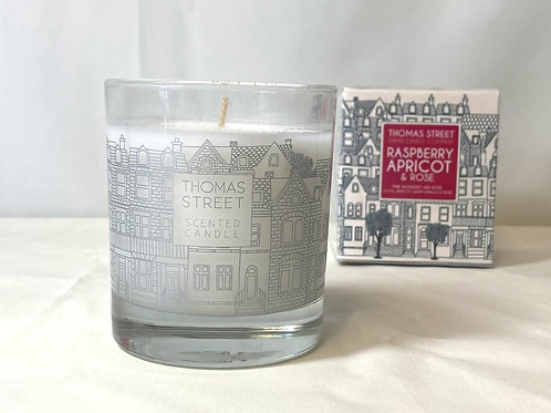 Thomas Street Raspberry Apricot & Rose Glass Candle