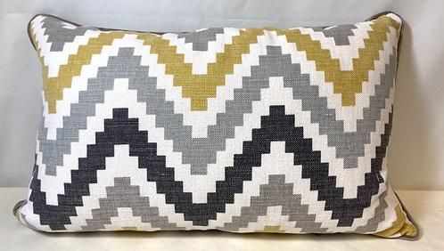 Mustard & Grey Geometric Cushion