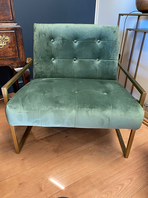 Green Chair With Brass Arms & Legs