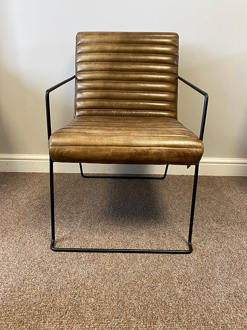 Ribbed Leather Armchair
