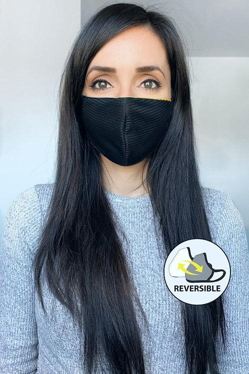 Masque réversible à rayures en polyester-C1.1
