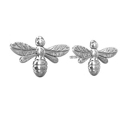 Silver bumble bee studs