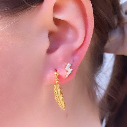 Gold Feather charm stud earrings