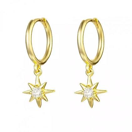 Gold Shooting Star hoops
