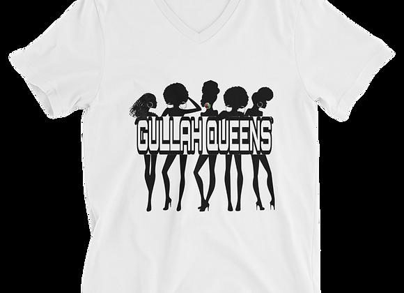 """""""Gullah Queens"""" Women's V-Neck T-Shirt (White Only)"""