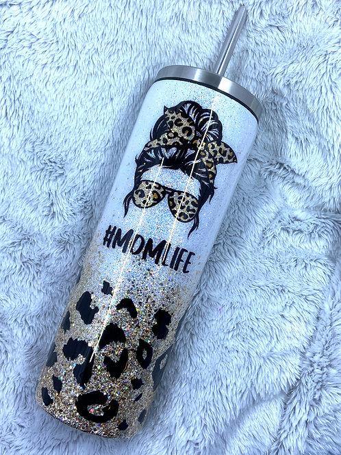 Mom life leopard tumbler