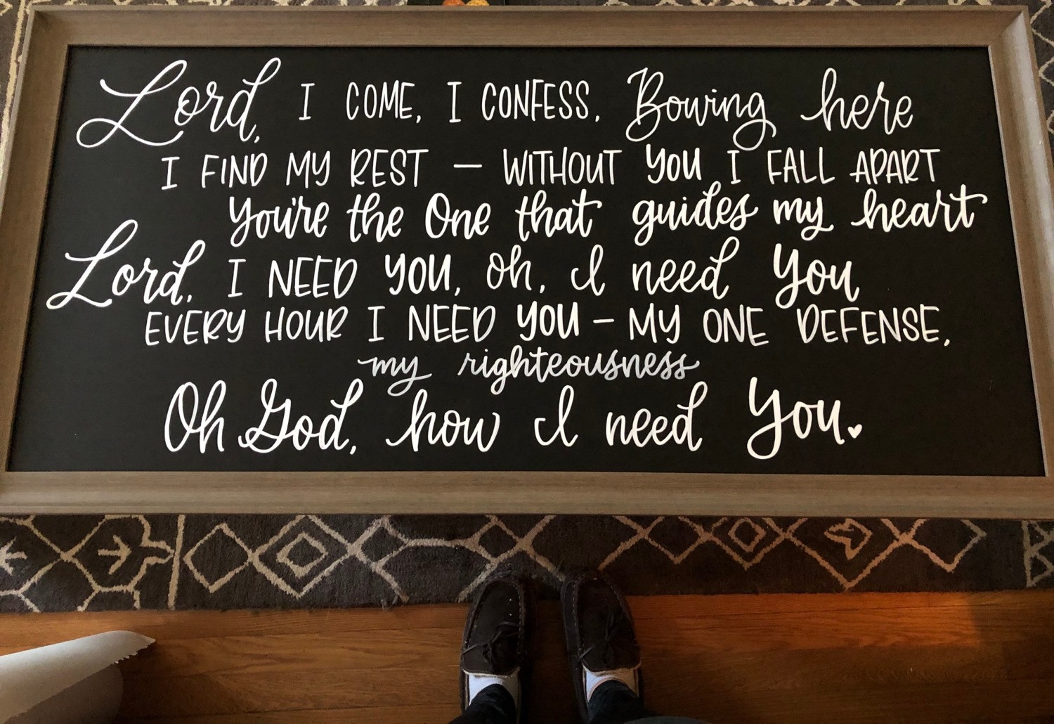Hand Lettered Song on Chalkboard