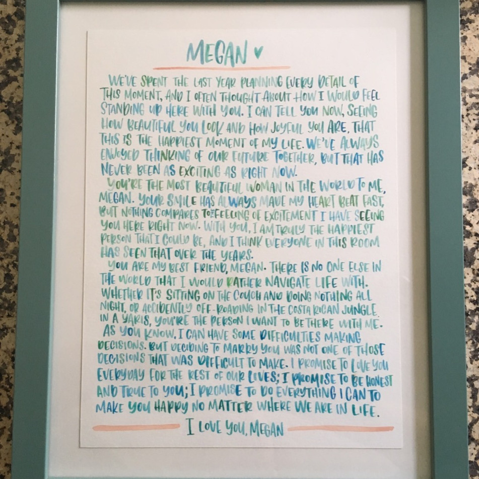 Hand Lettered Watercolor Vows