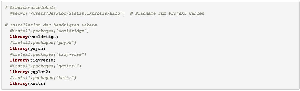R Auswertung - Code zur Installation der R-Pakete