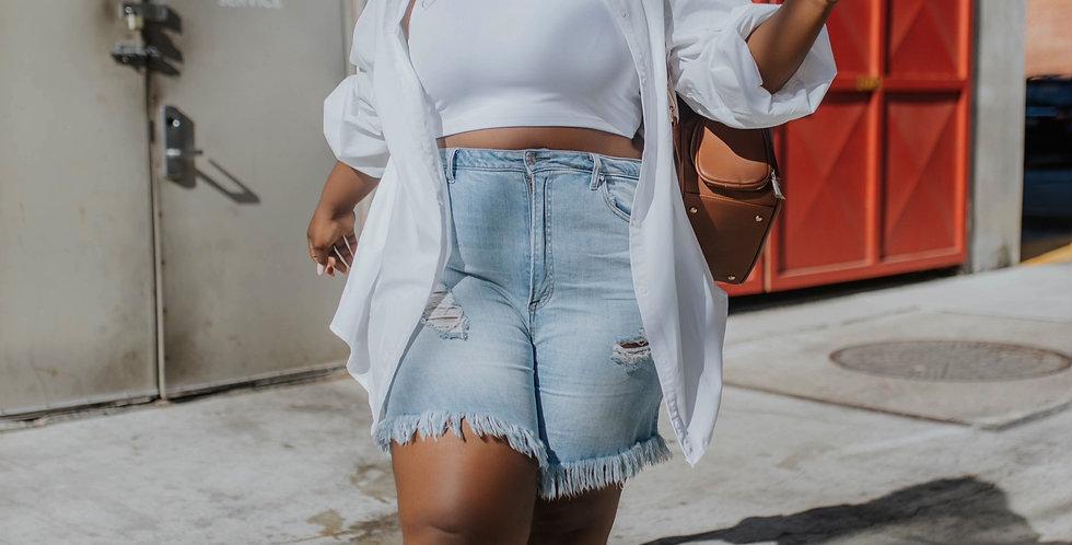 FRAY High Waist Distressed Denim Shorts
