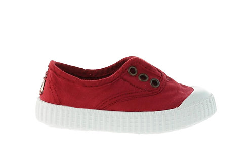 VICTORIA RUBBER-TOED CANVAS PLIMSOLLS RED