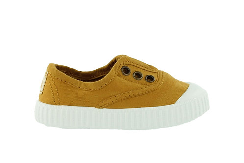VICTORIA RUBBER-TOED CANVAS PLIMSOLLS CURRY