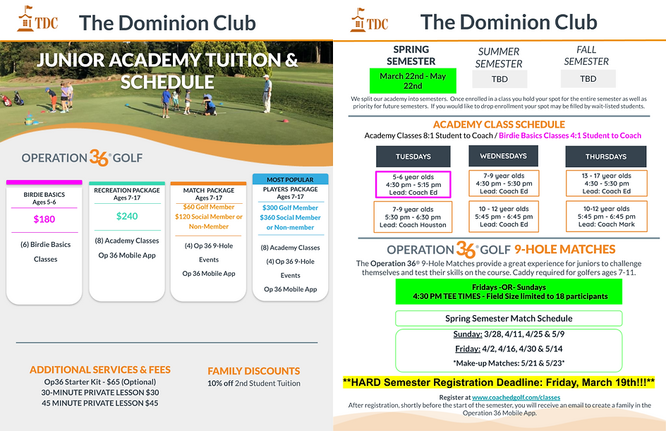 Spring 2021 Junior Academy Tuition for W