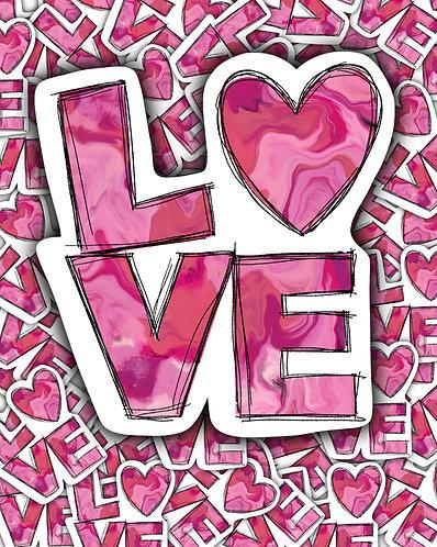 Pink Distressed LOVE Waterslide DOWNLOAD