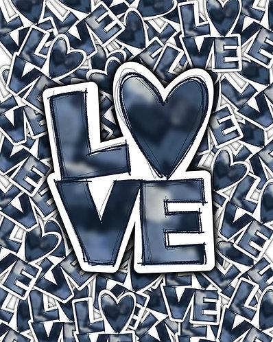 Blue Distressed LOVE Waterslide DOWNLOAD
