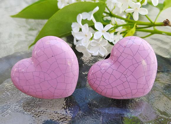 Мебельная ручка PINK HEART CRACKLE