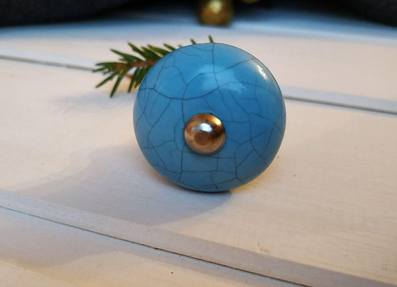 Мебельная ручка мини BLUE BLACK CRACKLE