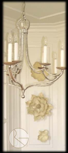 Magnolia Wall Art  Beaded Chandelier