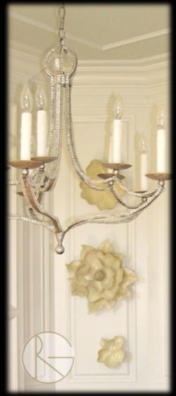 Magnolia Wall Art  Beaded Chandelier