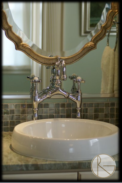 Vessel Sinks Paired with Glass Tile