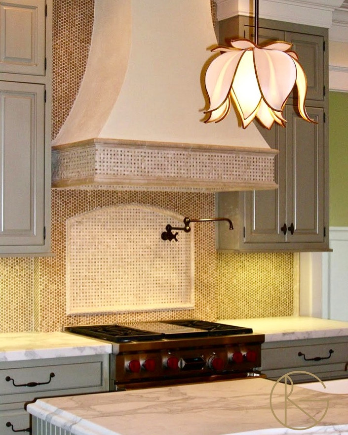 Penny Marble Tiles and Magnolia Pendants!